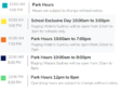 Parks Hours